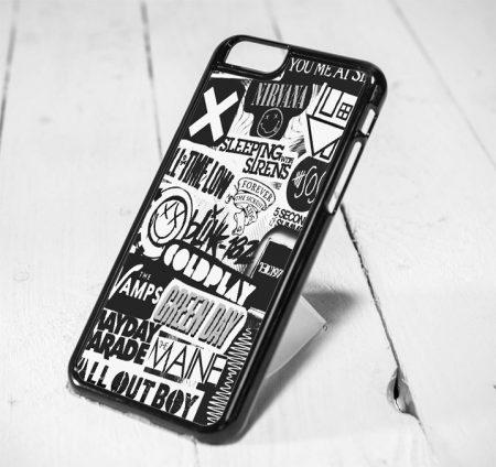Band Symbol Collage, Nirvana, Coldplay Protective iPhone 6 Case, iPhone 5s Case, iPhone 5c Case, Samsung S6 Case, and Samsung S5 Case