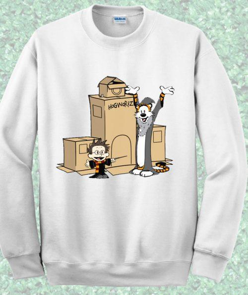 Calvin Hobbes Harry Potter Style Crewncek Sweatshirt