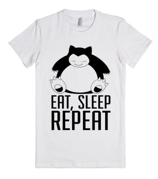 Pokemon Snorlax Eat Sleep Repeat Unisex Premium T shirt Size S,M,L,XL,2XL