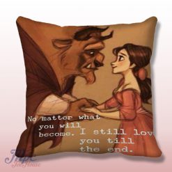 Beauty and The Beast Love Quote Throw Pillow Cover