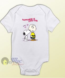 Charlie Brown and Snoopy Love Kiss Baby Onesie