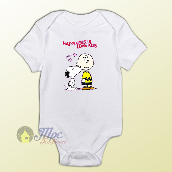 Charlie Brown and Snoopy Love Kiss Baby Onesie