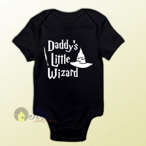 Daddy's Little Wizard Harry Potter Style Baby Onesie