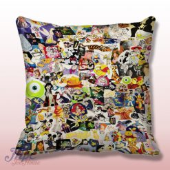 Disney Collage All Character Stained Glass Pillow Cover