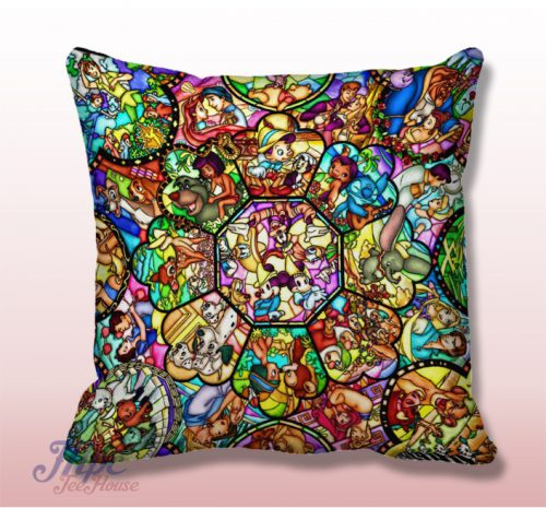 Disney All Character Stained Glass Pillow Cover