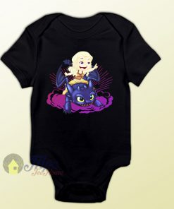 Elsa Frozen and Toothless Night Fury Baby Onesie