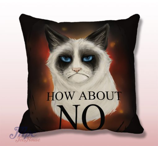 Grumpy Cat No Quote Throw Pillow Cover