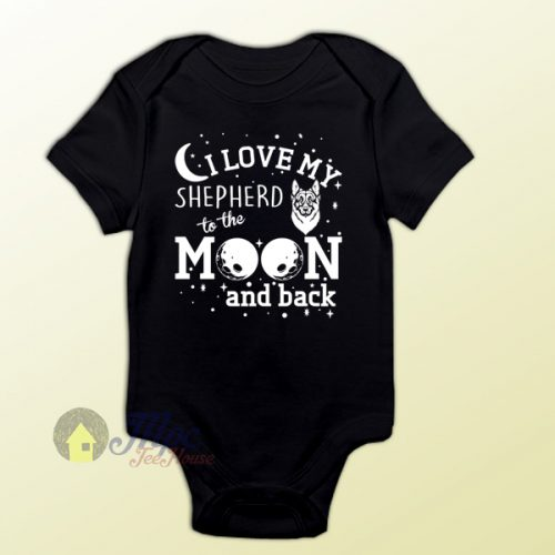Love My Shepherd To The Moon Baby Onesie