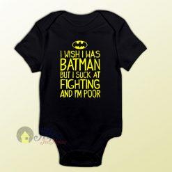 I Wish I Was Batman Quote Baby Onesie