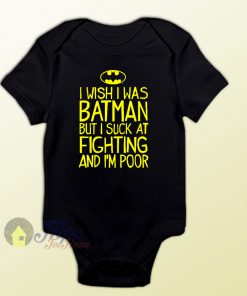 I Wish I Was Batman Quote Baby Onesie