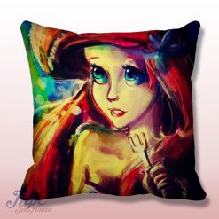 Ariel Little Mermaid Paint Throw Pillow Cover