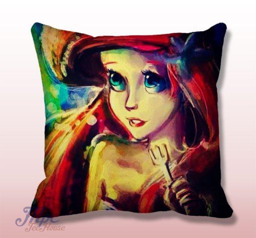 Ariel Little Mermaid Paint Throw Pillow Cover