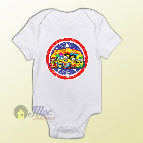 Despicable Minion Superhero Collage Baby Onesie