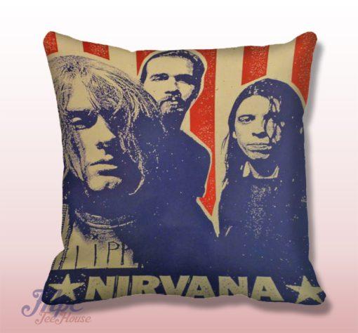 Nirvana Seattle Grunge Throw Pillow Cover