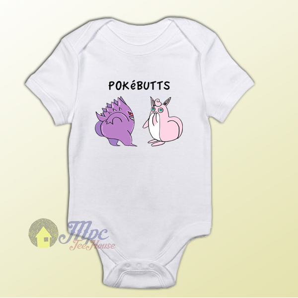 Funny Pokemon Pokebutts Baby Onesie