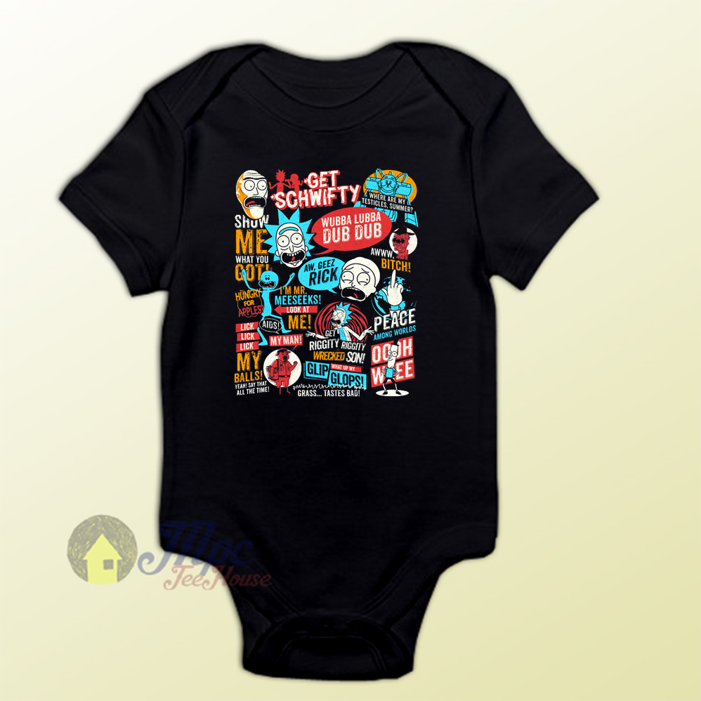 Rick Morty Quote Collage Baby Onesie