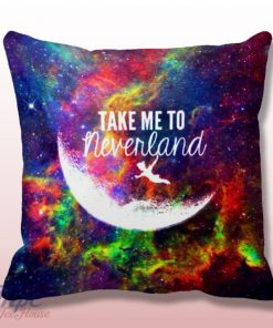 Peter Pan Take Me To Neverland Quote Throw Pillow Cover