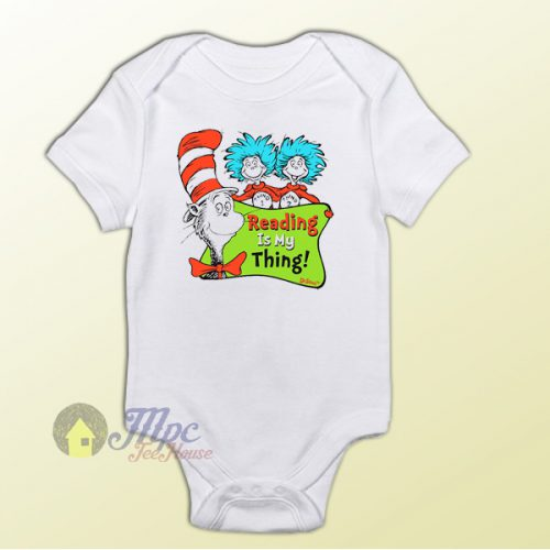 Dr Seuss Reading is My Thing Baby Onesie