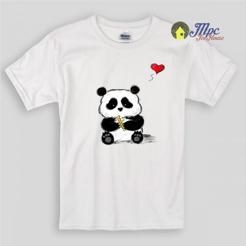 Cute Panda Sketch Kids T Shirts and Youth