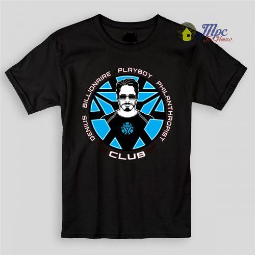 Tony Stark Iron Man Club Kids T Shirts