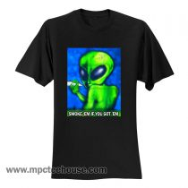 90's Distressed Smoking Alien Grunge T Shirt