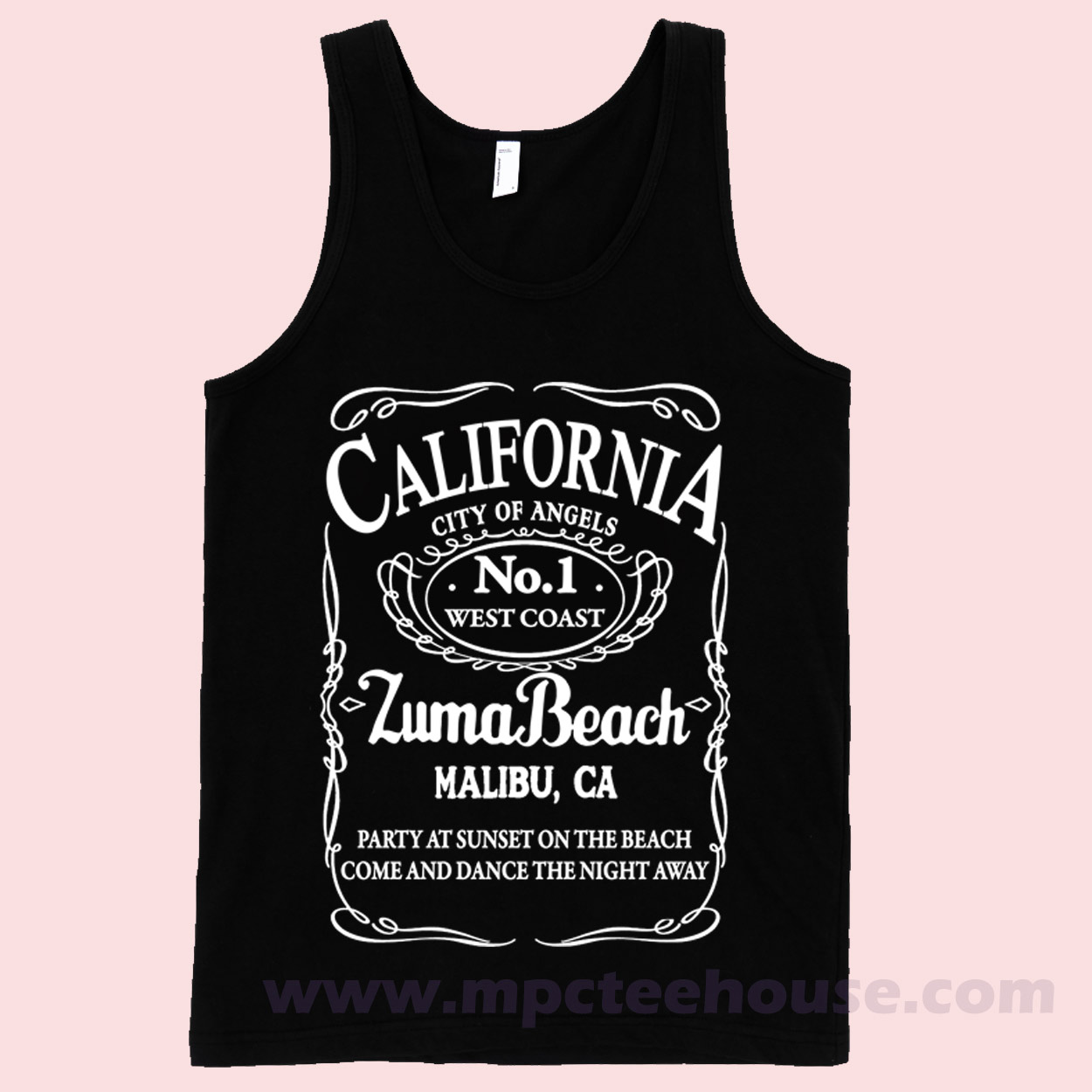 California Malibu Zuma Beach Black Tank Top