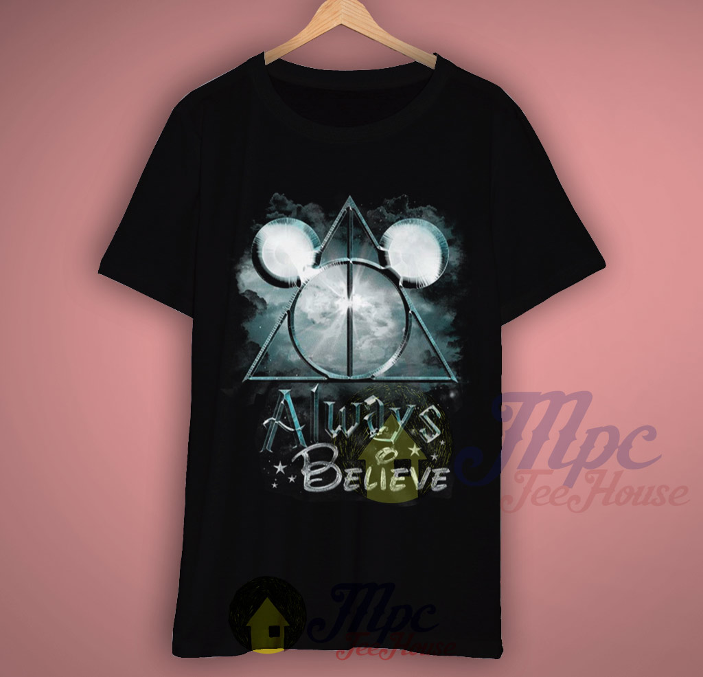 Harry Potter Book Cover Shirt : Always believe harry potter and mickey mouse t shirt