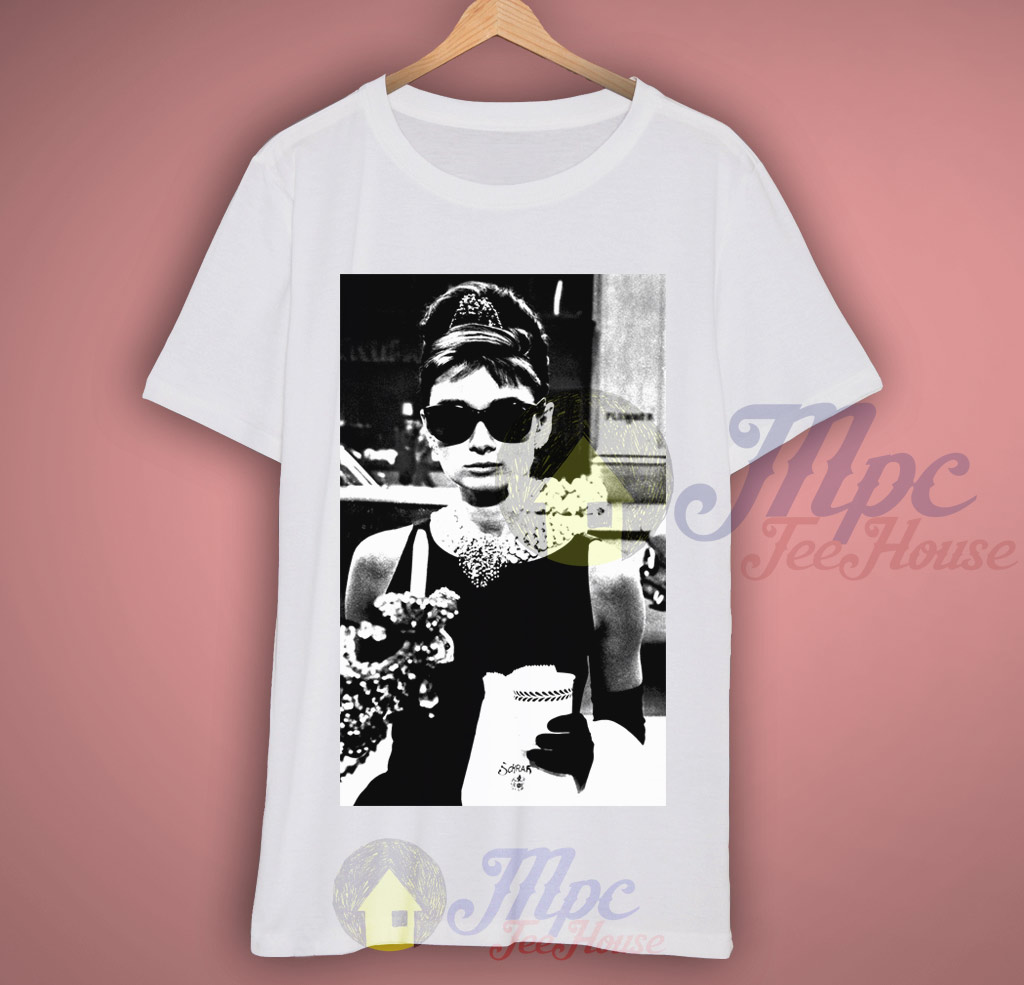 086aa8c15 Audrey Hepburn Sunglasses Breakfast at Tiffany T Shirt - Mpcteehouse