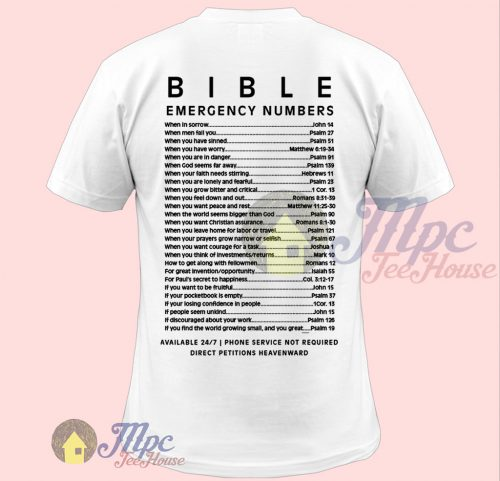 Bible Emergency Numbers T Shirt