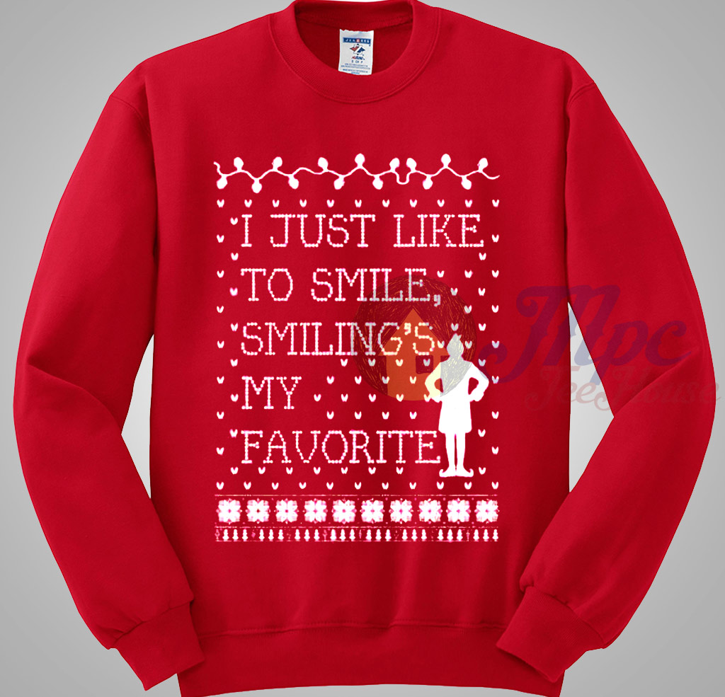 Elf Quote Just Like Smiling Ugly Sweater