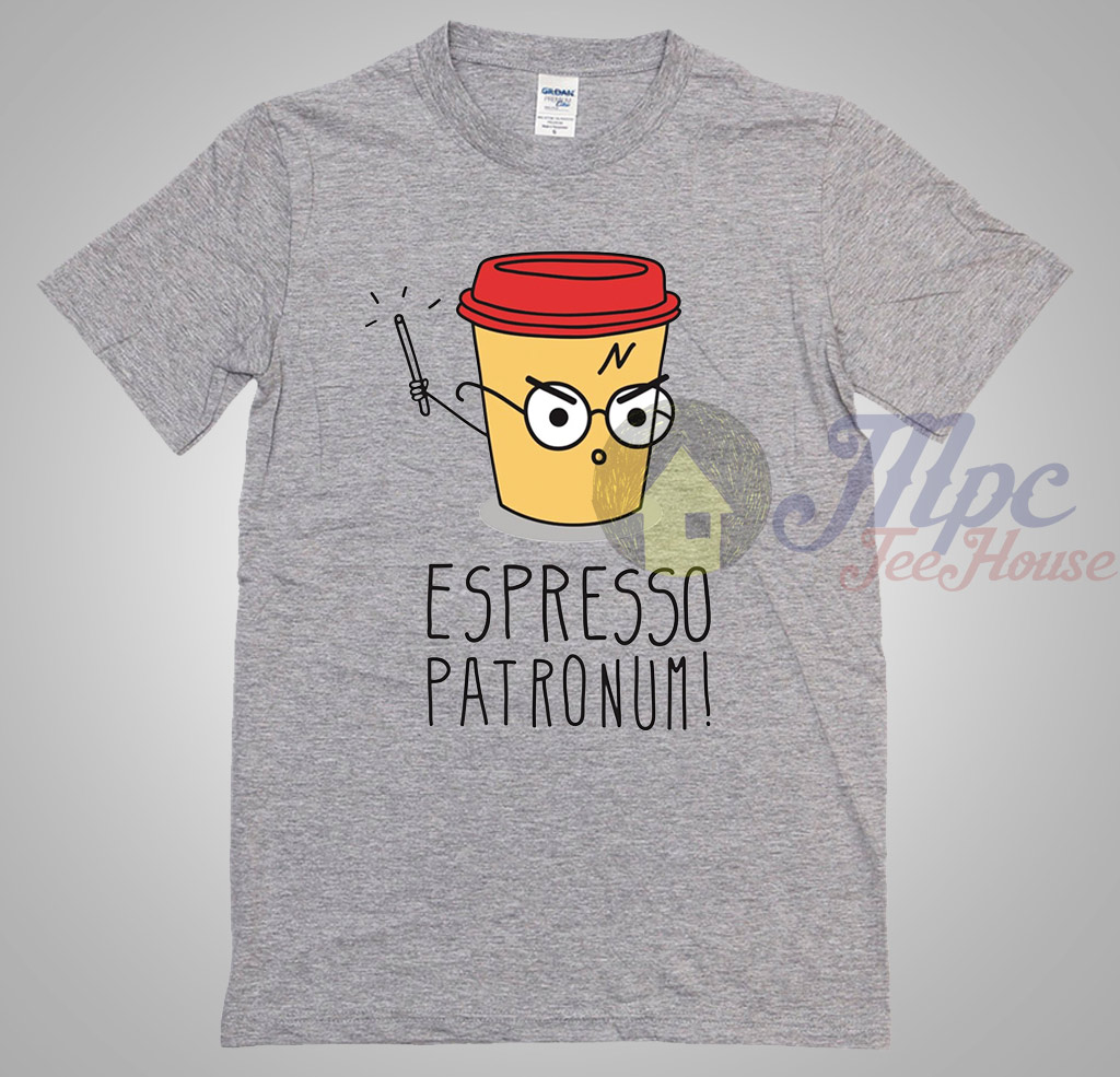 Harry Potter Book Cover Shirt : Harry potter parody espresso patronum t shirt mpcteehouse
