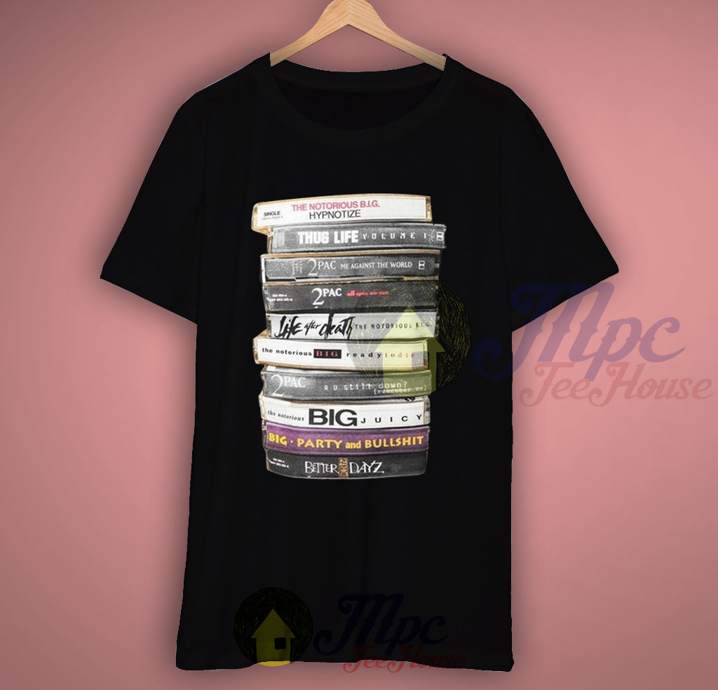 Notorious Big 2 Pac Cassette Tape Collection T shirt