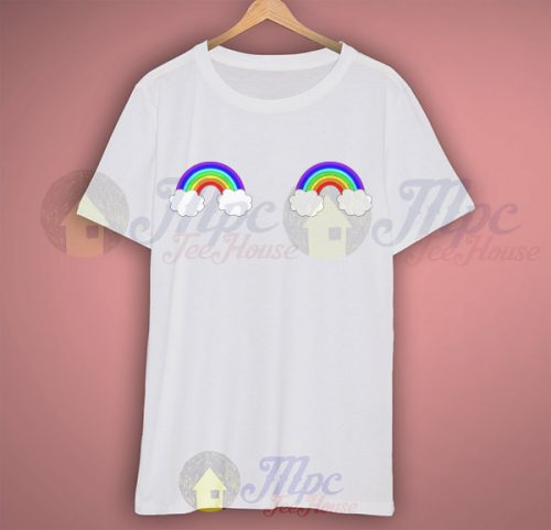 Rainbow Cloud Boob Funny T Shirt