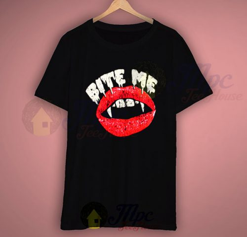Bite Me Vampire Lips Halloween T Shirt