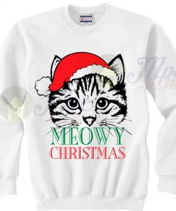 Cute Cat Meowy Christmas Sweater