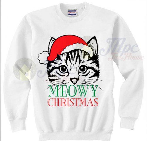 Cute Cat Meowy Christmas Sweater