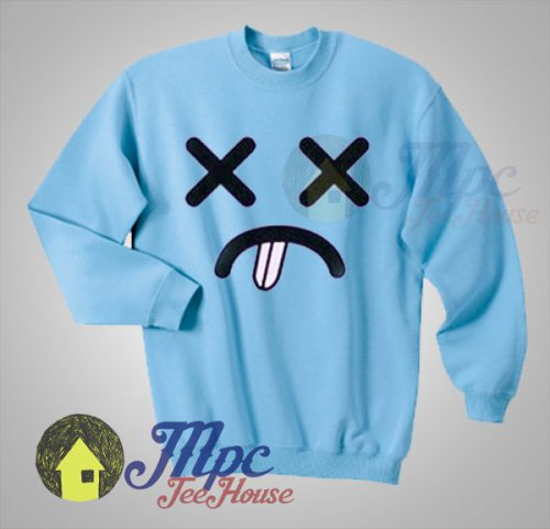 Distressed Face Emoticon Unisex Sweatshirt
