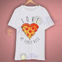 Love Pizza At First Bite Halloween T Shirt