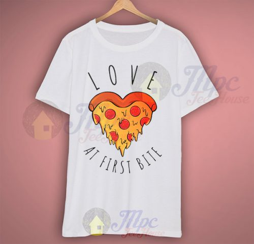 Love Pizza At First Bite Halloween T Shirt
