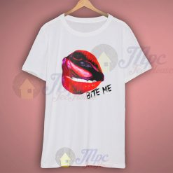 Sexy Lips Bite Me Quote T Shirt