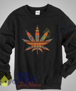 Sweat Weed Aztec Pattern Sweatshirt