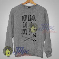 You Know Nothing Jon Snow Game Of Thrones Sweatshirt