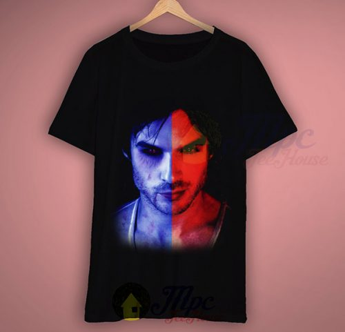 Damon Salvatore Vampire Diaries Eyes Black T Shirt
