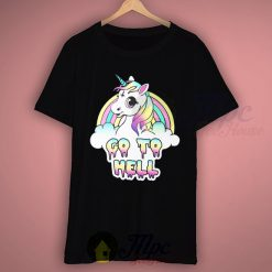 Unicorn Go To Hell Black T Shirt