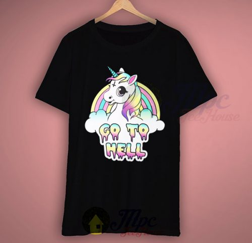 Unicorn Go To Hell Black T Shirt