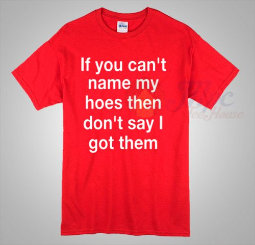 Celebrity Slogan Tee If You Can't Name My Hoes T Shirt