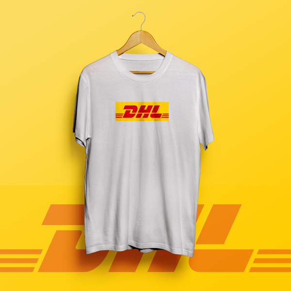 dhl logo box t shirt white. Black Bedroom Furniture Sets. Home Design Ideas