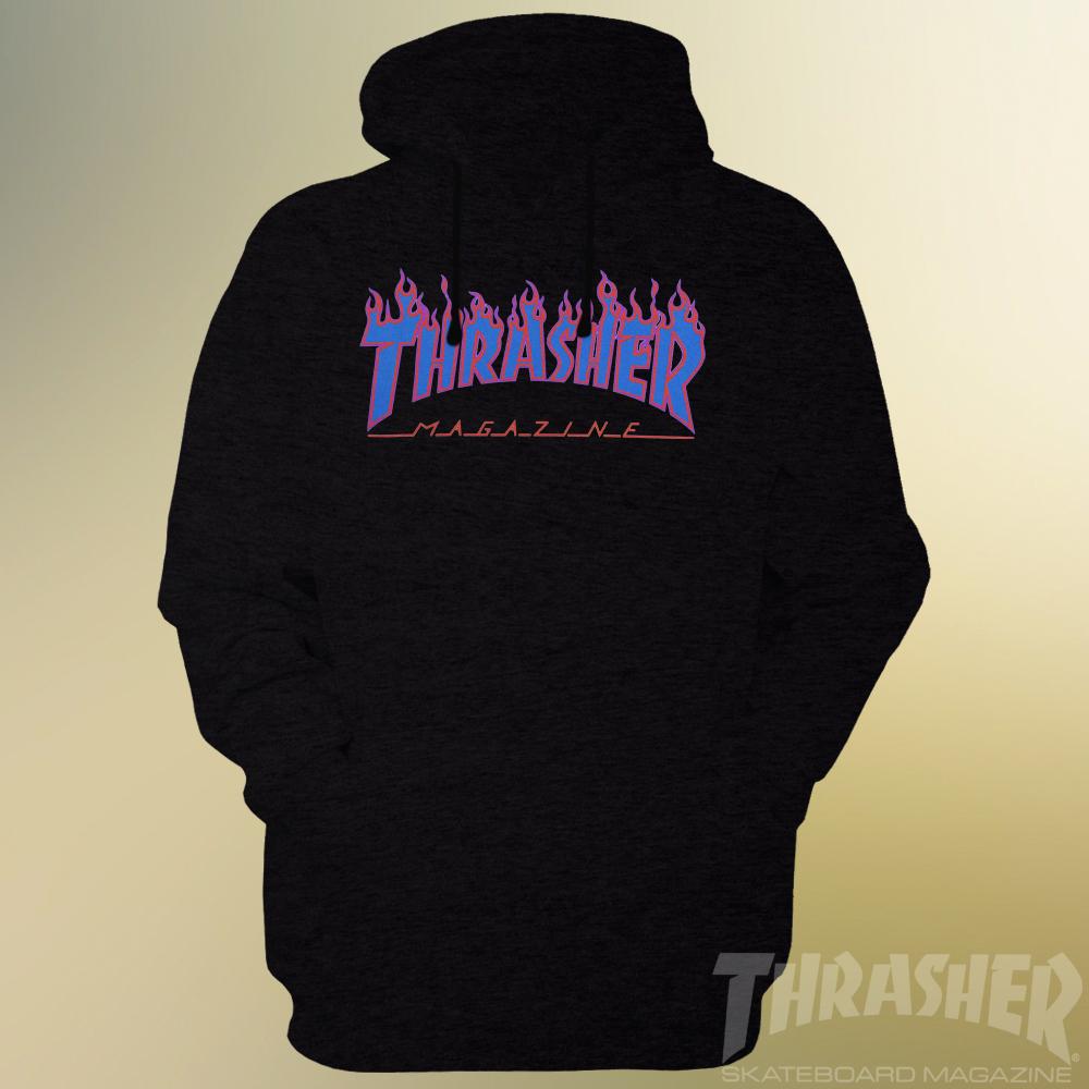 665fcfe2d9bd Thrasher Skateboard Magazine Blue Flames Logo Unisex Hoodie ...