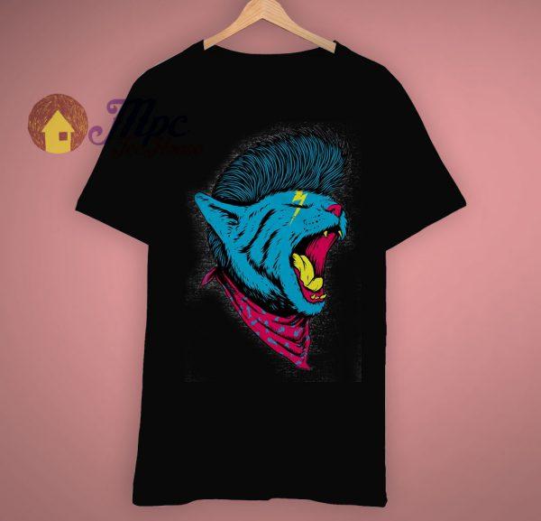 Street Punk Rock Music Mohawk Cat Face T Shirt