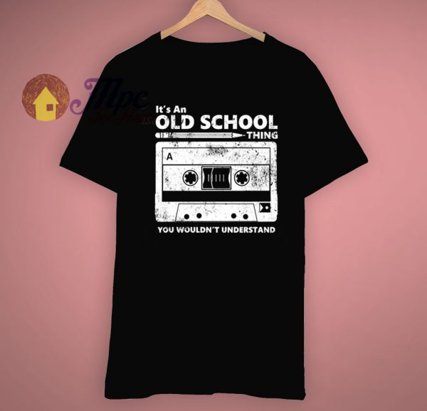 Throwback 80s Eighties Old School Cassette Tape Pencil Roll T Shirt